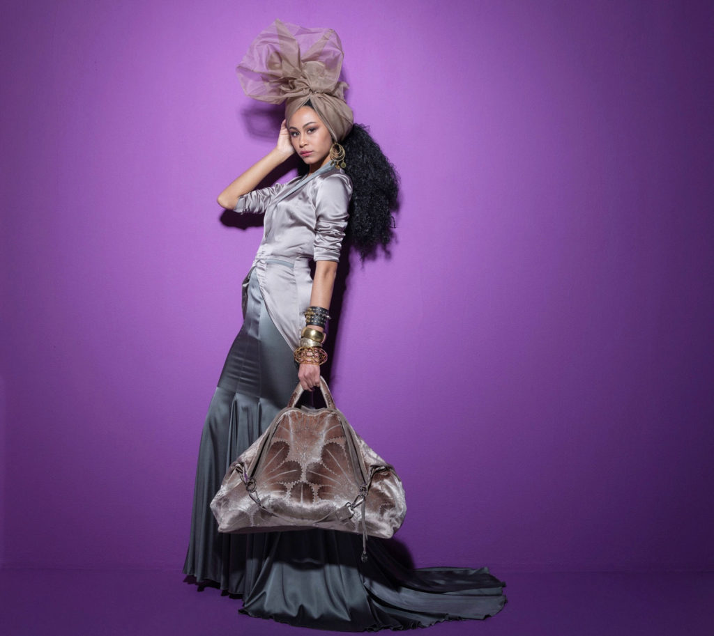 """Model with Bag """"Velvet-Gold"""""""